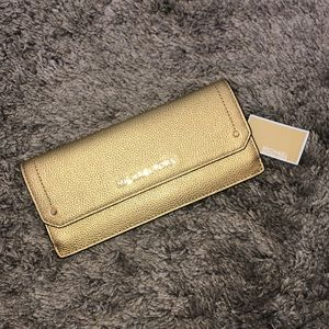 "Michael Kors ""Hayes"" Gold Flat Leather Wallet"